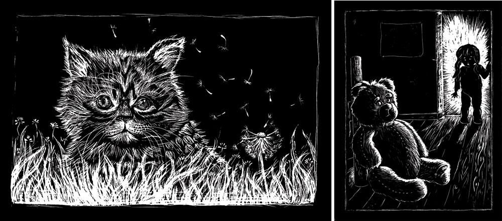 flo kanban illustration jeunesse carte à gratter chat ours chambre