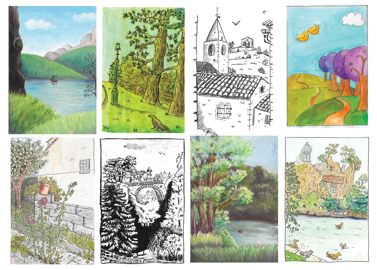 flo kanban illustration jeunesse cartes postales paysags décors village lac buttes chaumont jardin