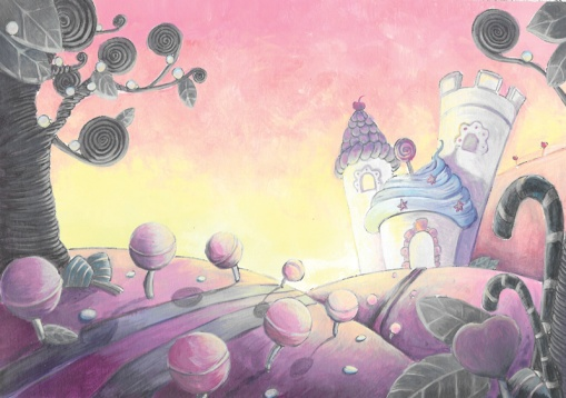 flo kanban illustration jeunesse décor Sweetway nuit bombons paysage