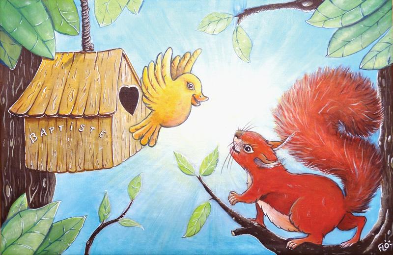 flo kanban illustration jeunesse cadeau naissance tableau enfant écureuil oiseau animaux