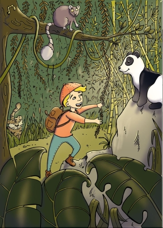 flo kanban illustration jeunesse jungle panda lémurien tigre