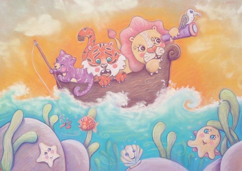 flo kanban illustration jeunesse Voyage bateau félins