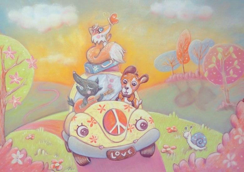 flo kanban illustration jeunesse Voyage voitures canins