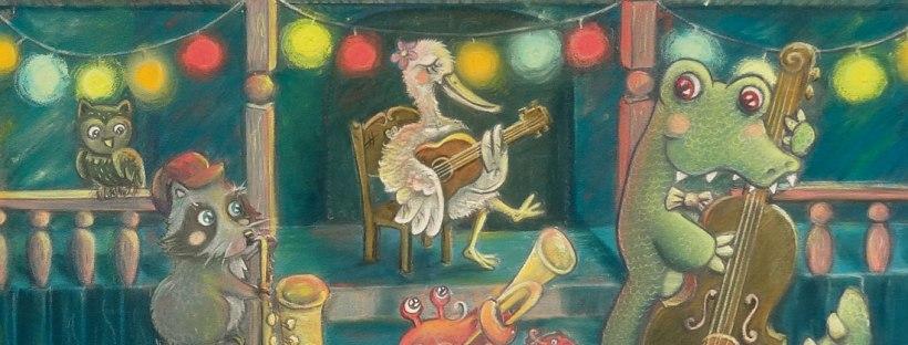 flo kanban illustration jeunesse Jazz band musique animeaux