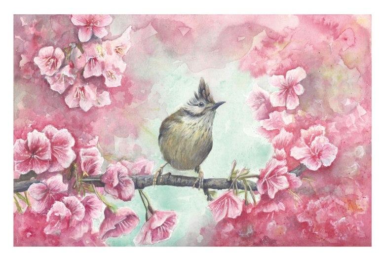 Flo kanban illustration jeunesse oiseau huppé cerisiers fleurs nature