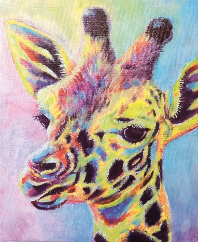 Flo kanban illustration jeunesse girafe Pop art