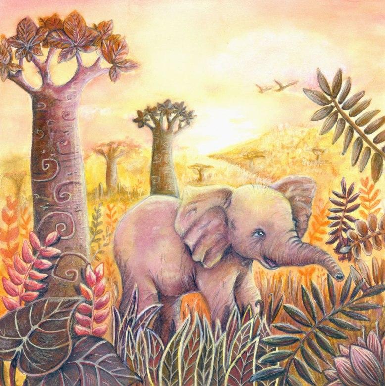 Flo kanban illustration jeunesse bestiaire Vœux d'artistes éléphant