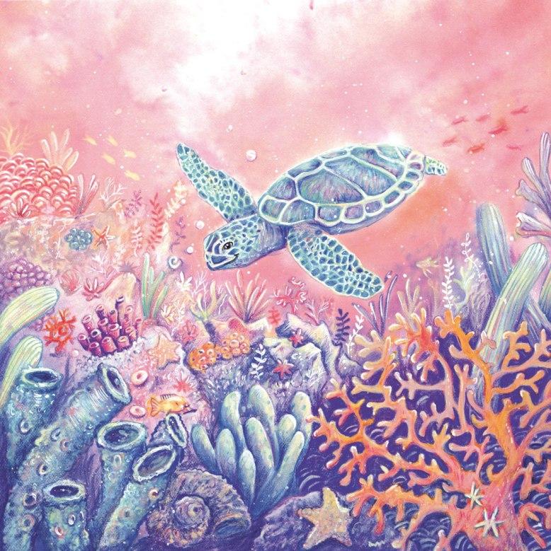 Flo kanban illustration jeunesse bestiaire Vœux d'artistes tortue de mer