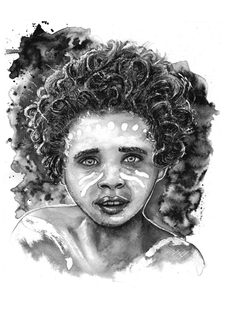 Flo_Kanban_illustratrice_N&B_Encre_Viasage_Oceanie_enfant