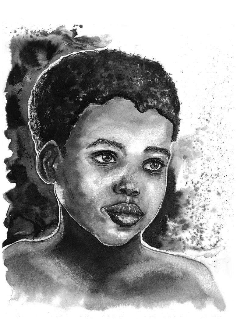 Flo_Kanban_illustratrice_N&B_encre_visage_Afrique_enfant